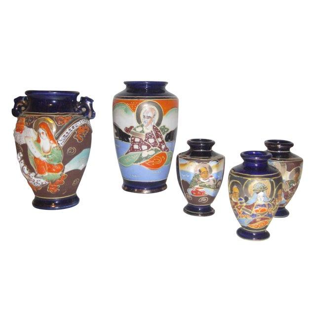 Image of Vintage 1950s Japanese Satsuma Vases - Set of 5