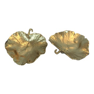 Gold Metal Leaf Dishes - A Pair