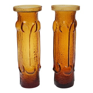 Stelvia Amber Blown-Glass 'Antiqua' Vases designed by Wayne Husted - a Pair