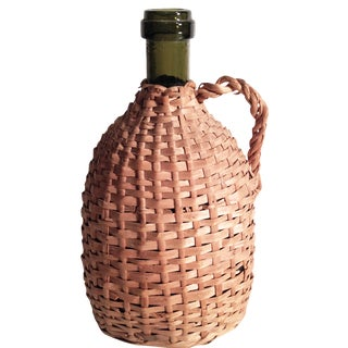 French Wicker-Wrapped Wine Bottle