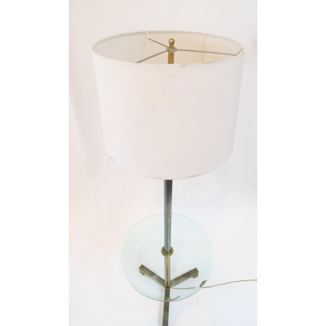 Brass Floor Lamp With Glass Table - Image 3 of 7