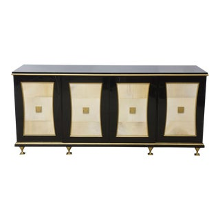 French Modern Black Lacquer, Parchment Buffet Attributed Jacques Quinet, 1940s