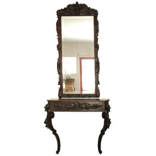 Carved Console Table & Mirror