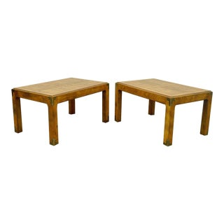 Vintage Henredon Artefacts Oak & Brass Campaign Parsons Style Side Tables - A Pair
