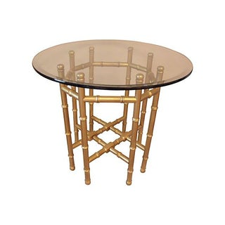 Glass and Gilt Faux Bamboo Table