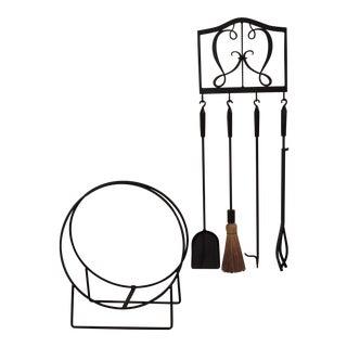 Fireplace Tool & Wood Holder Set