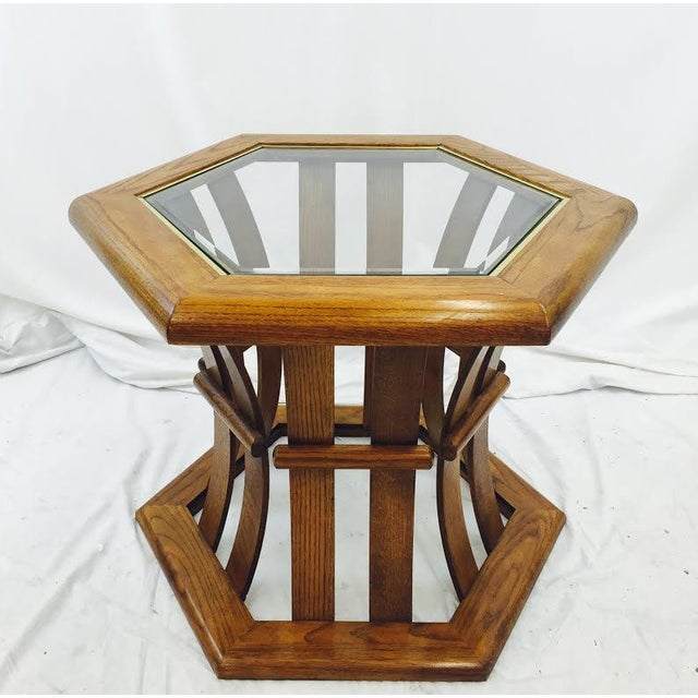 Retro Mid Century Wood & Glass Top Side Table - Image 2 of 7