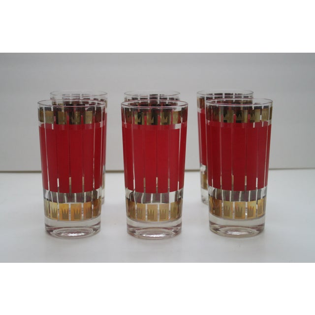Image of Mid-Century Fred Press Glasses - Set of 6