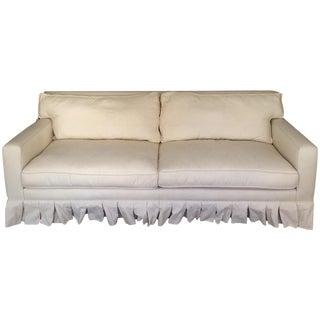 Custom Pinstriped White/Beige Sofa