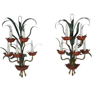 Italian Painted Metal 5-Light Sconces - A Pair