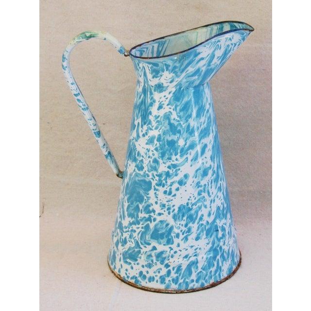 Blue & White French Enameled Porcelain Pitcher - Image 7 of 7