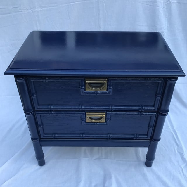 Navy Faux Bamboo Side Table - Image 3 of 6