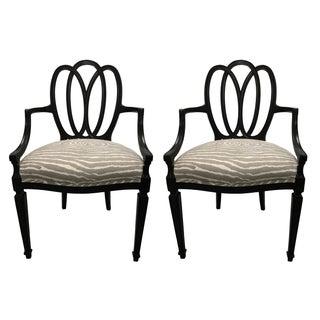 Black Loop-Back Armchairs - A Pair