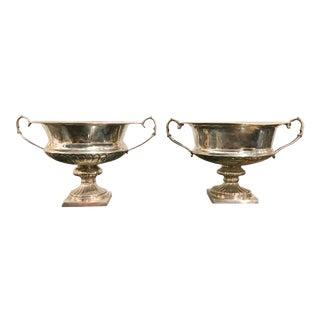 Pair, Vintage Silver Plate Loving Cup Urns