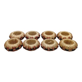 Hand Crafted Basket Weave Napkin Rings - Set of 8
