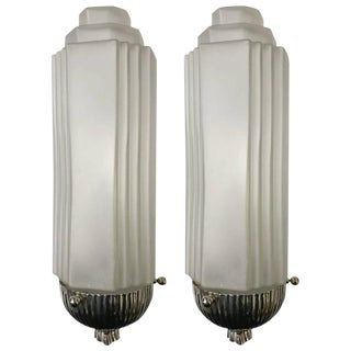 French Art Deco Sconces with Skyscraper Motif - A Pair