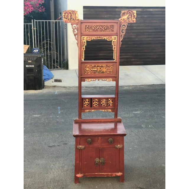 Image of Asian Distressed Red Cabinet