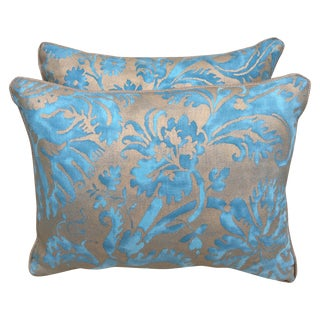 Blue & Silvery Gold Fortuny Pillows - Pair