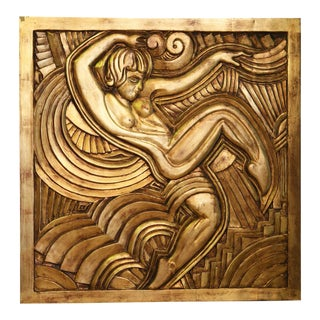 Folies Bergere Dancing Lady Carved Wooden Panel