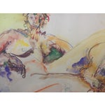Image of Vintage Mixed Media Painting of a Female Nude