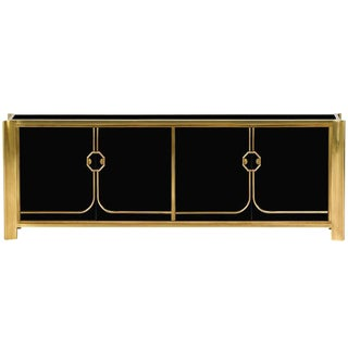Black Lacquered and Brass Credenza by Mastercraft