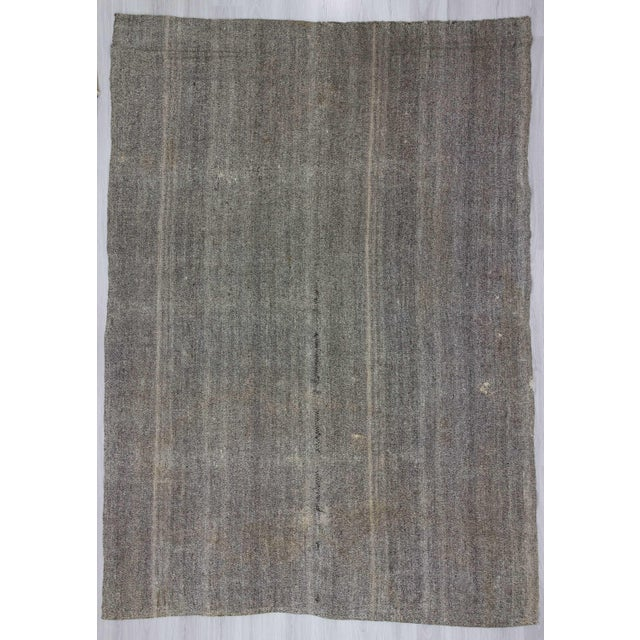 Vintage Turkish Modern Gray Kilim Rug- 8′ × 11′1″ - Image 2 of 6