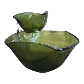 Mid-Century Green Glass Chip & Dip Set