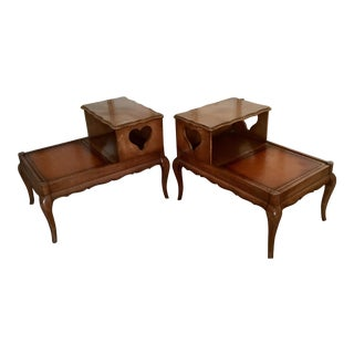 Vintage Double Top Bedside Tables - A Pair