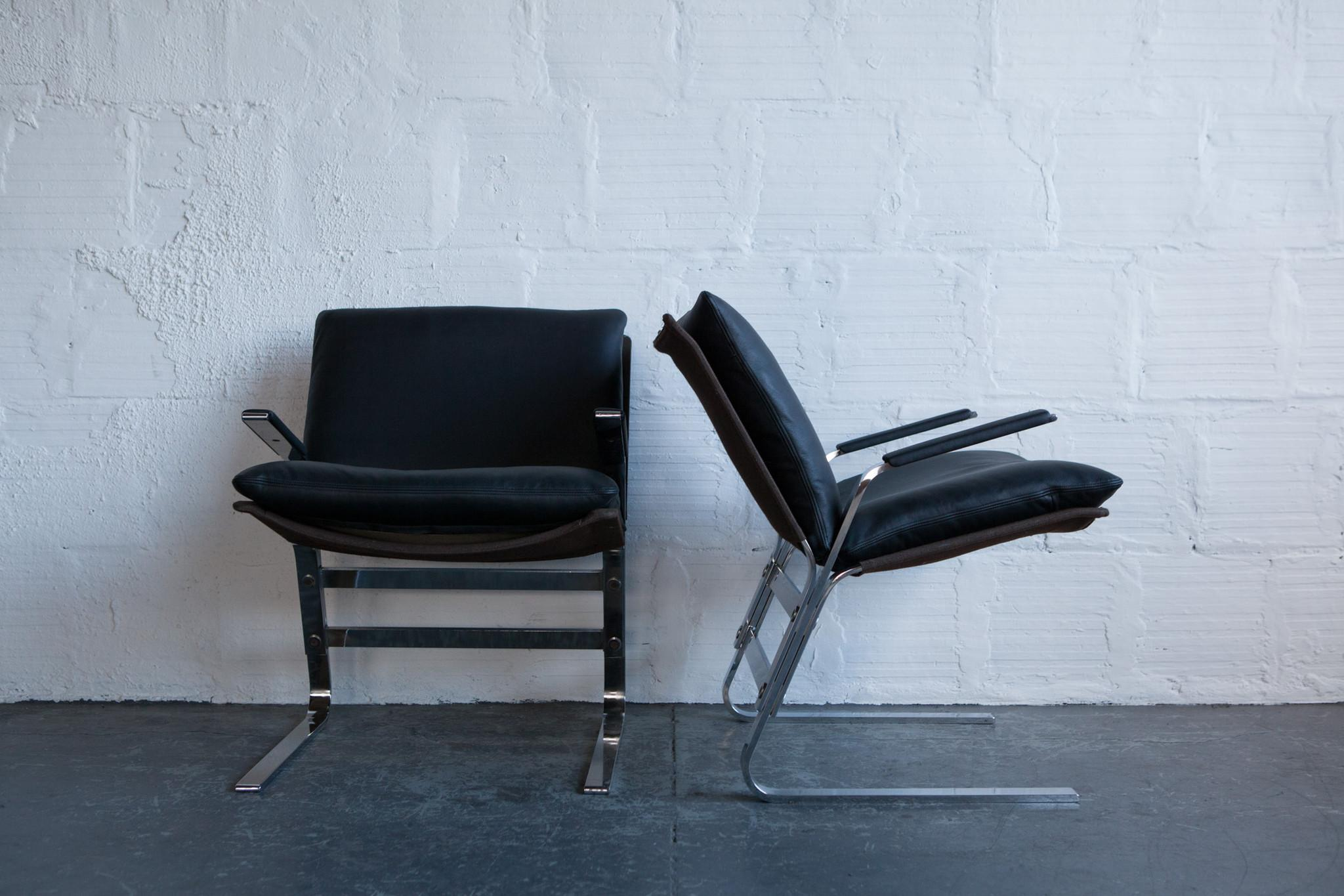 Leather & Chrome Butterfly Lounge Chairs A Pair