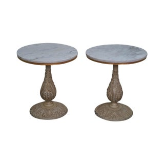 Hollywood Regency Round Marble Top Pedestal Side Tables - A Pair