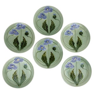 Majolica Green Flower Plates - Set of 6
