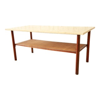 Travertine Top Two-Tier Coffee Table