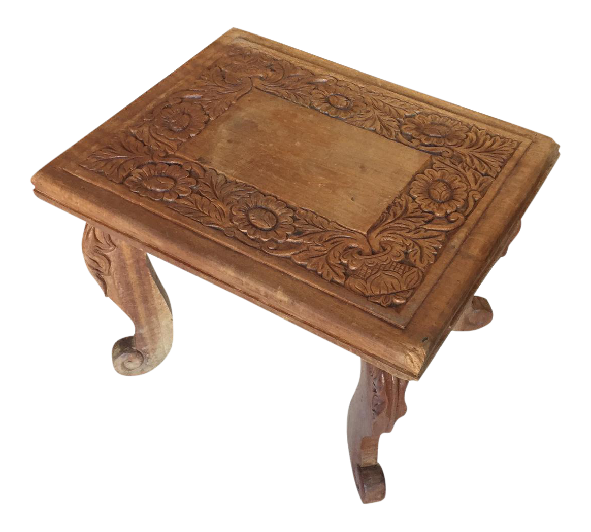 Charming Beautiful Carved Wooden Stool