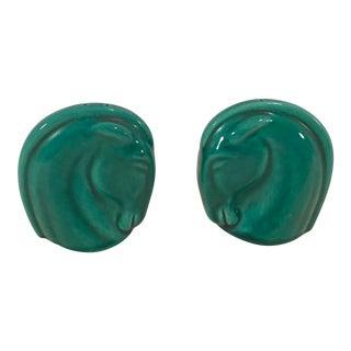 Art Deco Green Horse Head Salt & Pepper Shakers - A Pair