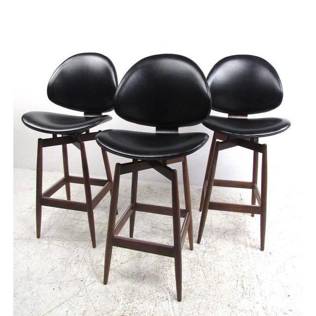 Mid-Century Modern Clamshell Bar Stools - Set of 3 - Image 2 of 11