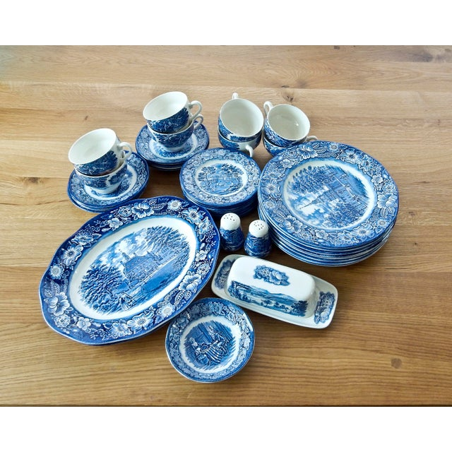 Staffordshire Dinnerware Liberty Blue China Set - Image 2 of 6