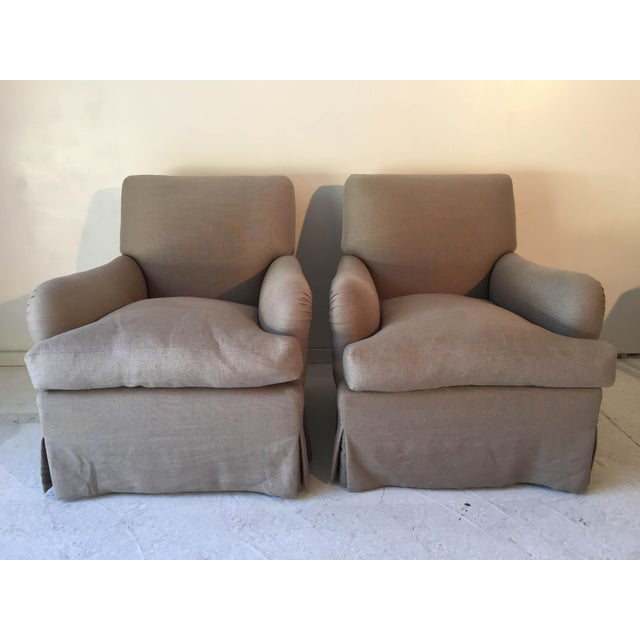 Baker Belgian Linen Club Chairs - A Pair - Image 2 of 9
