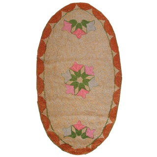 1920s Antique American Oval Hooked Rug- 2′ × 3′9″