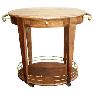 Art Deco Teak Bar Cart on Wheels