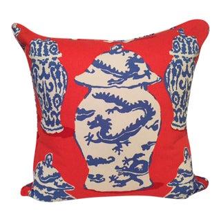 Dana Gibson Persimmon Red, White & Blue Dragon Jar Down Pillow