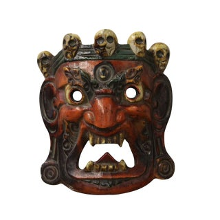 Vintage Solid Wood Handcrafted Chinese Village Traditional Opera Mask