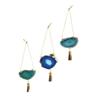 Set of 3 Gold Plated Assorted Agate Ornaments