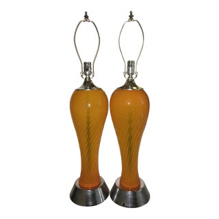 Murano Glass Seguso Orange Twist Lamp - A Pair