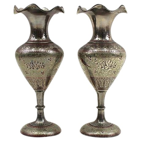 1930s Bohemian Metal Inlaid Vase Set - A Pair - Image 1 of 6