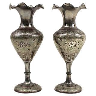 1930s Bohemian Metal Inlaid Vase Set -  A Pair