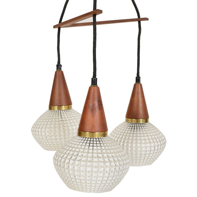 Danish Modern Teak & Glass Tri-Pendant - Image 1 of 3