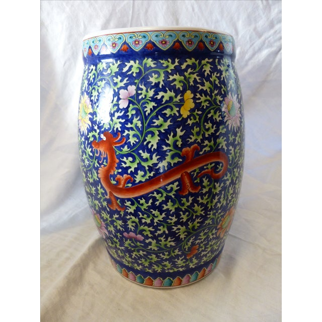 Chinoiserie Garden Stool With Dragon Motif - Image 2 of 8