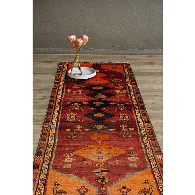"""Vintage Persian Tribal Abstract Design Runner Rug, 1970s - 42"""" x 108"""" - Image 3 of 3"""