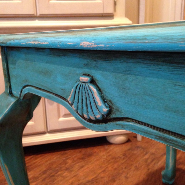 Image of Stanley Hand Painted Teal Beveled Glass End Table