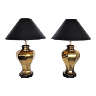 Large Vintage Brass Mid Century Modern Table Lamps by Chapman Lamp Company A-Pair